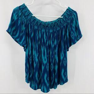 Xhilaration Green & Blue Off the Shoulder Blouse